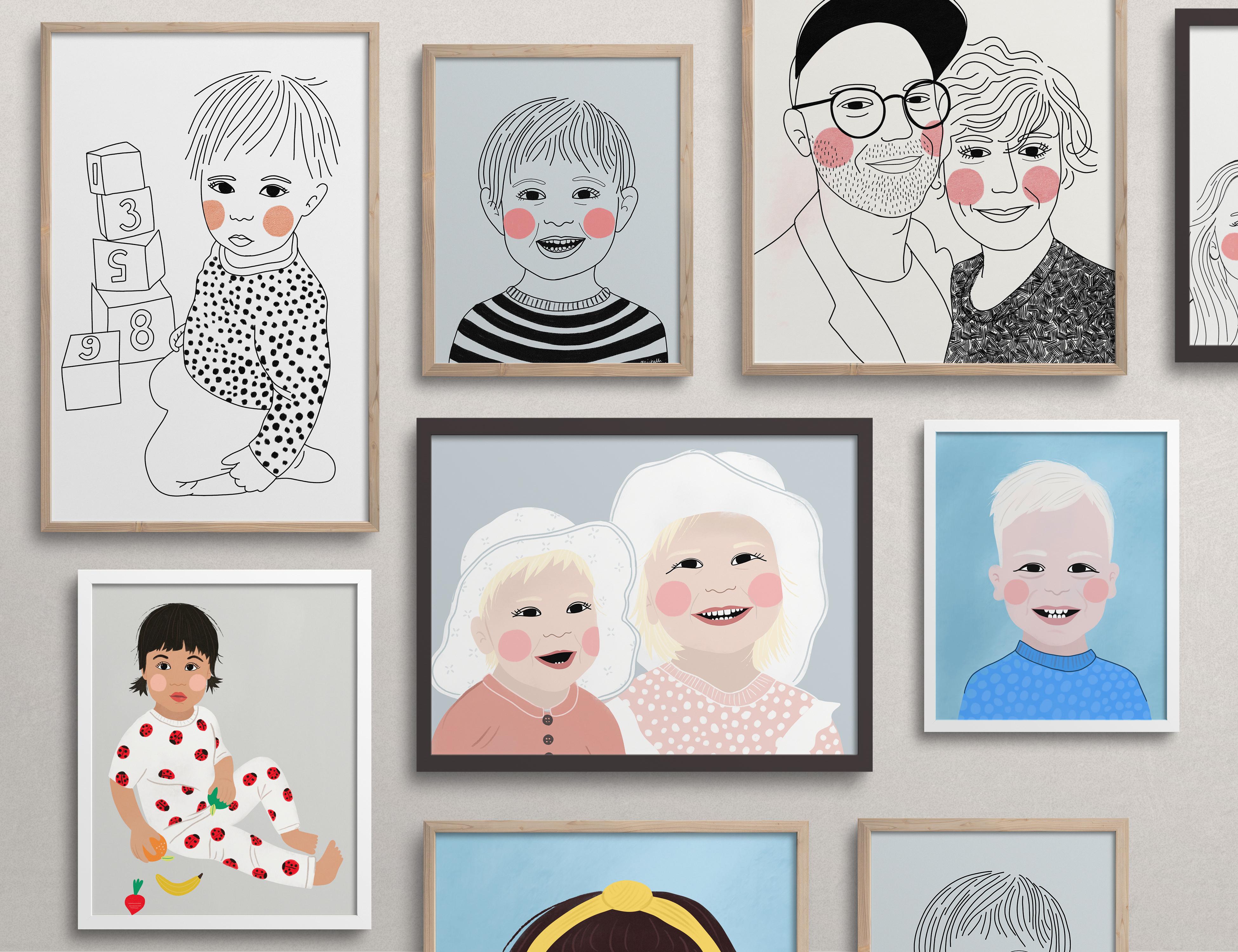 portrætter samlet